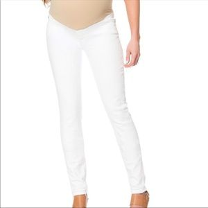 7 For All Mankind White Maternity Skinny Jeans